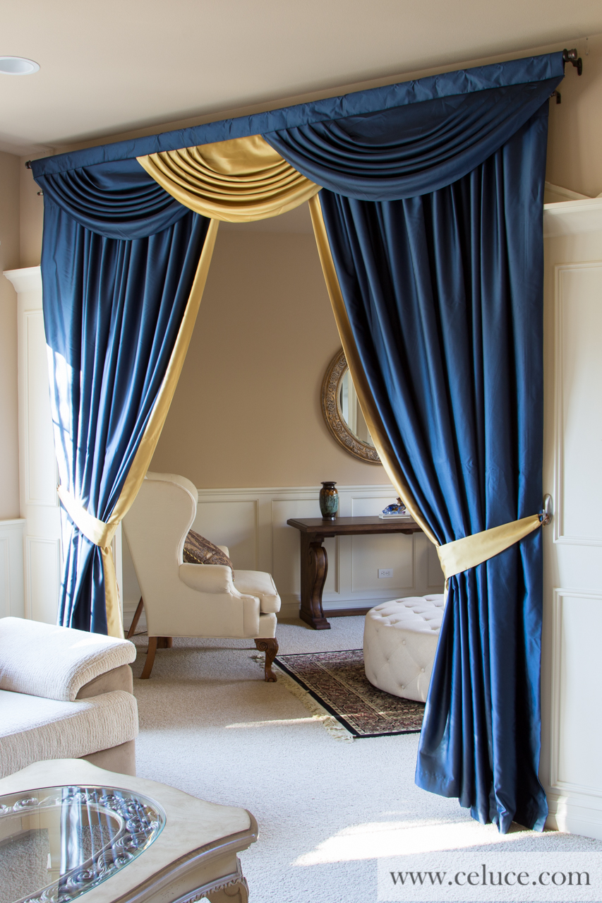 classic blue and gold swag valance curtain set. Black Bedroom Furniture Sets. Home Design Ideas