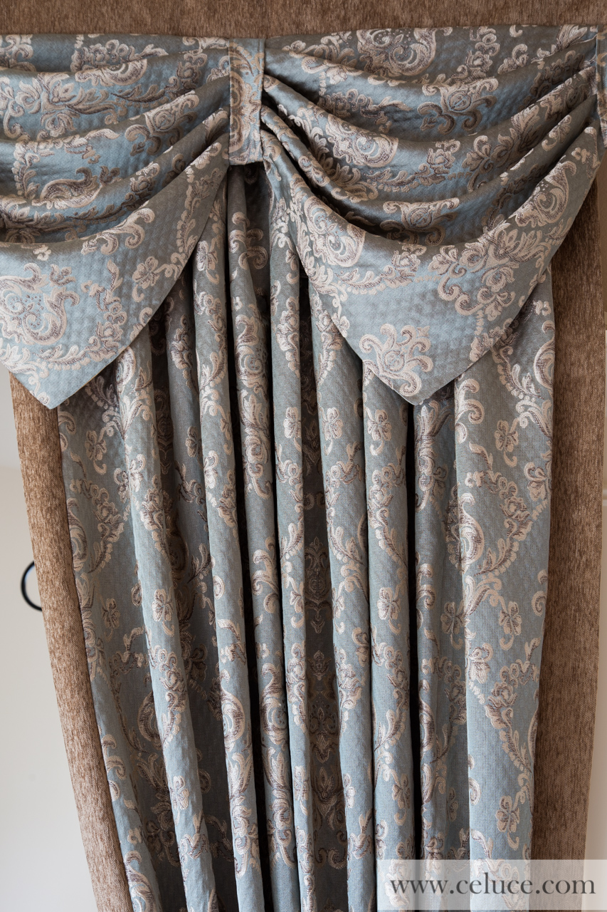 Austrian Diamond Swags and Valances Curtains Egyptian Blue Lotus 100