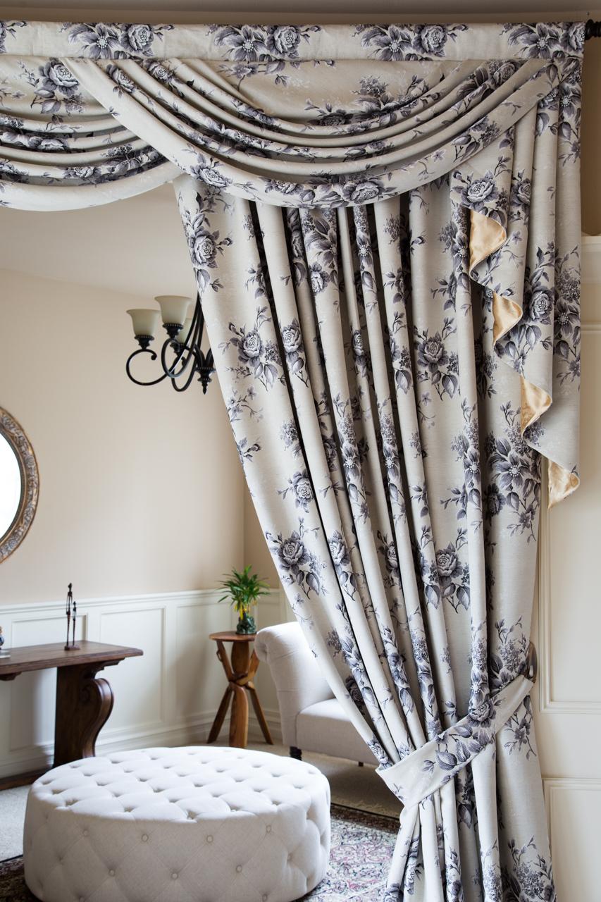 wide swag valance curtain set fleur noir 100 inch. Black Bedroom Furniture Sets. Home Design Ideas