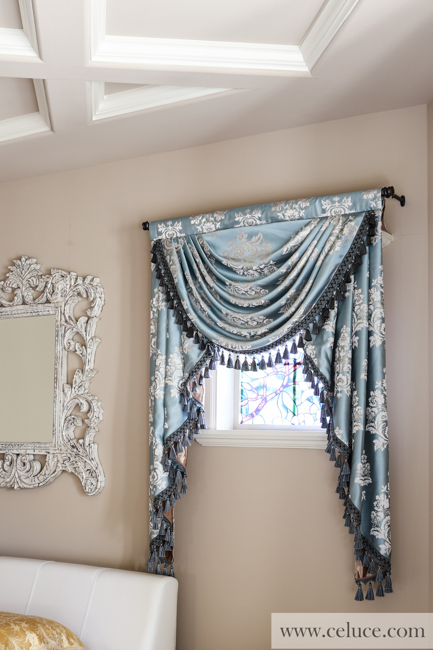 Classic overlapping swag valances curtain drapes glacial for Celuce curtains