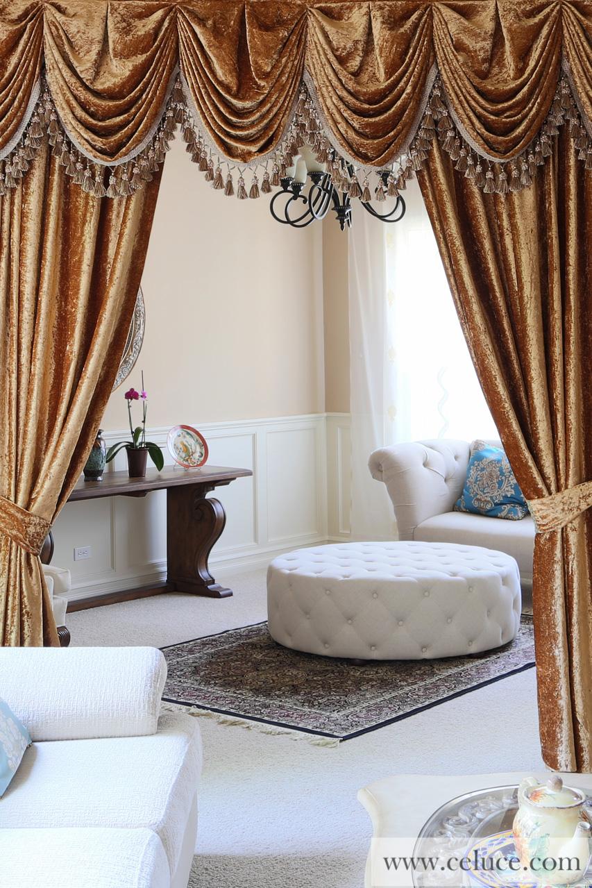 swag valances for living room. gold velvet pleated austrian style swag valance draperies picture 0 Gold Velvet Pleated Austrian Style Swag Valance