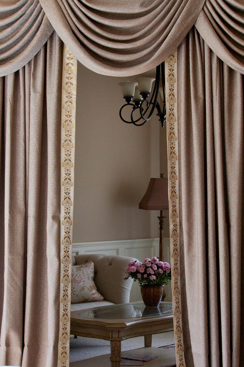 shimmering espresso swag valance curtain set 100 inch. Black Bedroom Furniture Sets. Home Design Ideas