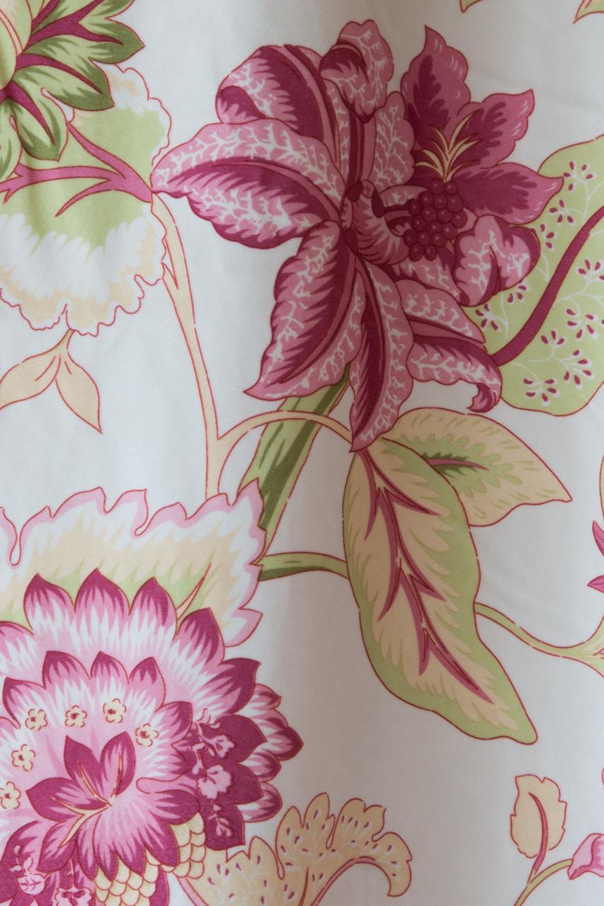 Pink Botanic Print Tab Top Swag Valance Draperies