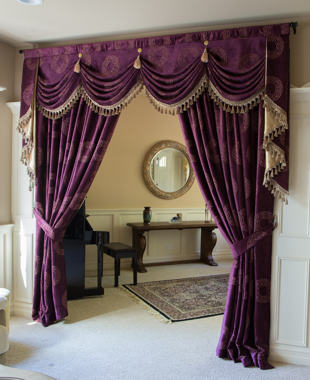 austrian swag valances curtain drapes orchid imperial. Black Bedroom Furniture Sets. Home Design Ideas