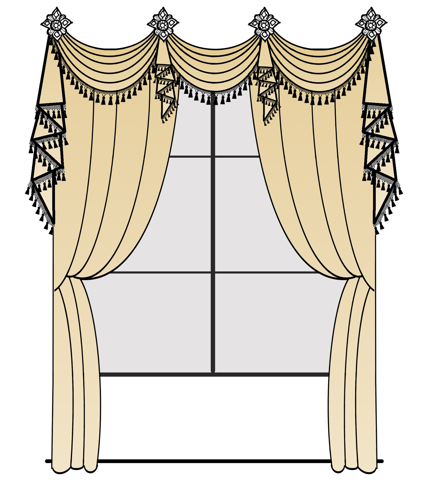 Swags Over Holdback Style Valance Curtains