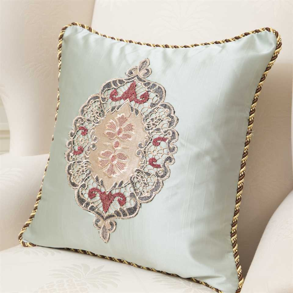 Picture of Embroidery Green Satin Pillow Case