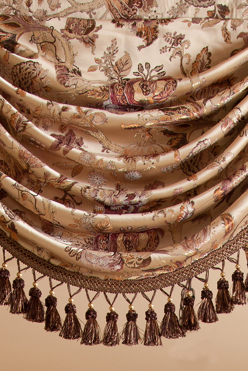 Classic Overlapping Swag Valances Curtain Drapes Oriental Tree Of Life Picture 5