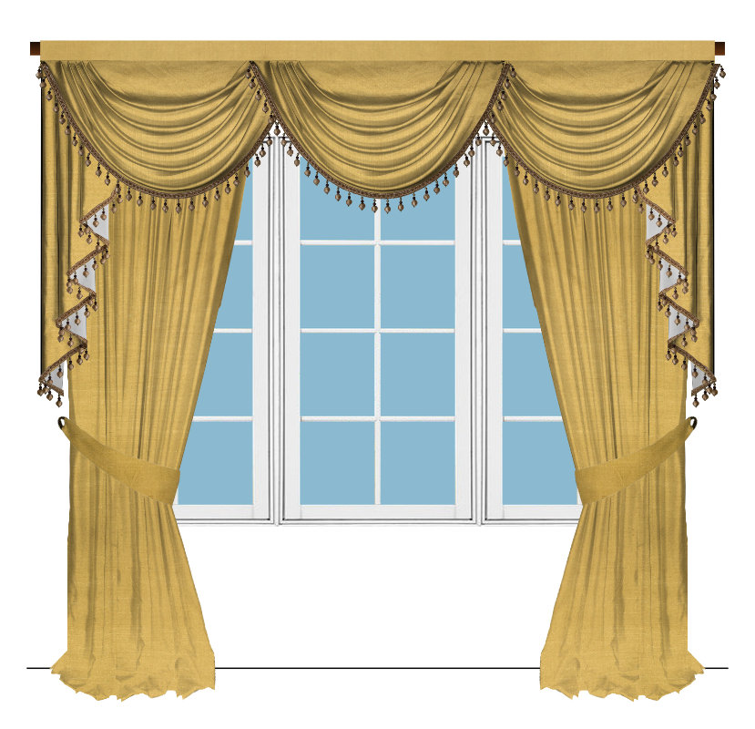 Classic overlapping swag valance curtains for Celuce curtains