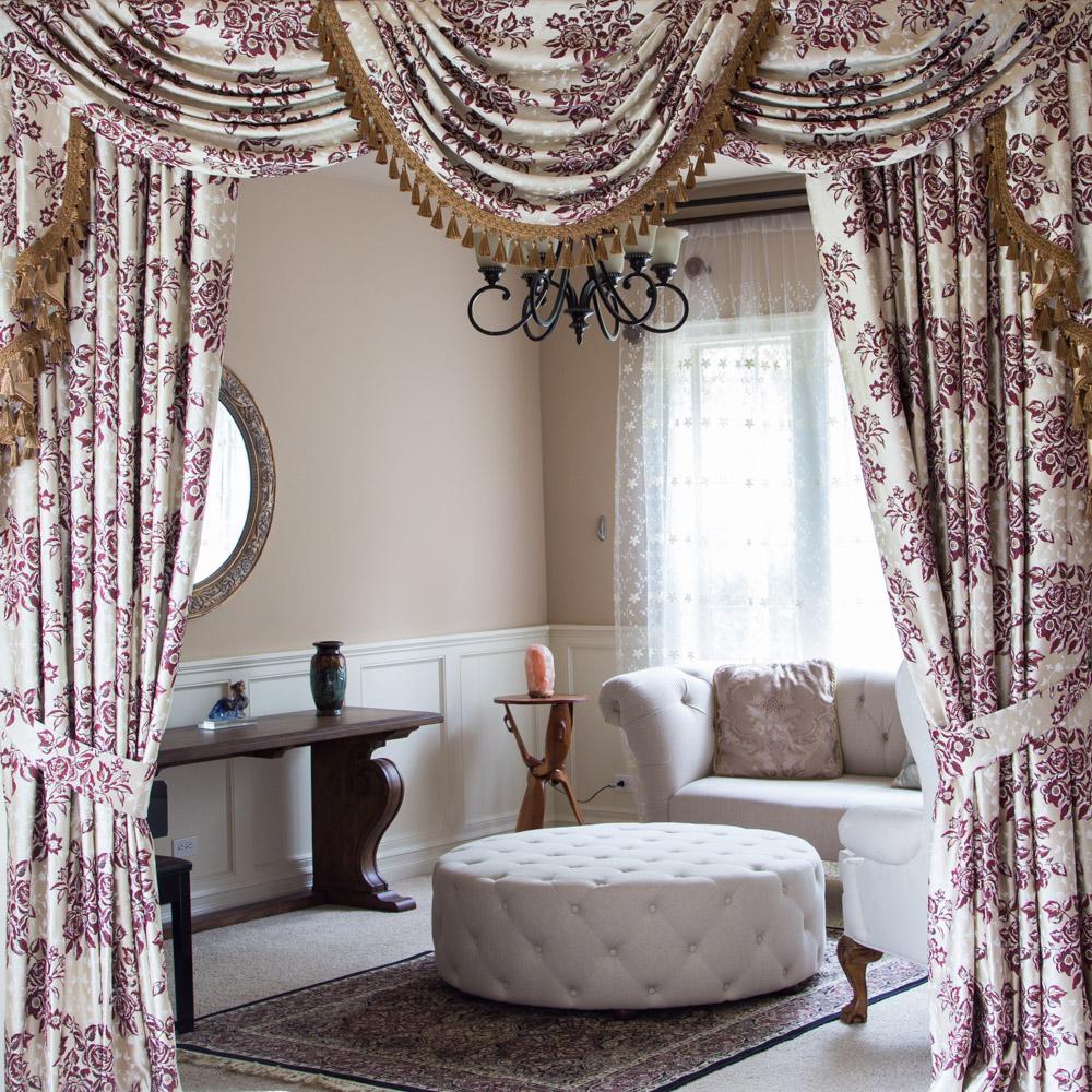 Burgundy Floral Valance Curtain Set 100 Inch