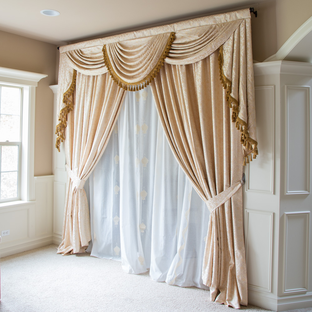 Ivory Floral Overlapping Swag Valance Curtains 100