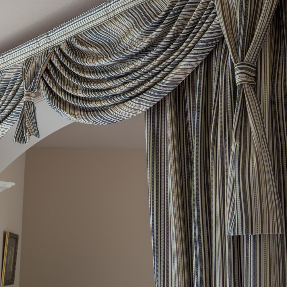 Gray Stripe Overlapping Swag Valance Curtains 100