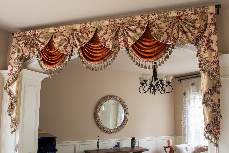Paris salon swag valances curtains rosy queen for Pareti salone